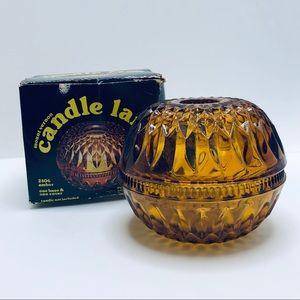 Indiana Glass Amber Mount Vernon Round Fairy Lamp